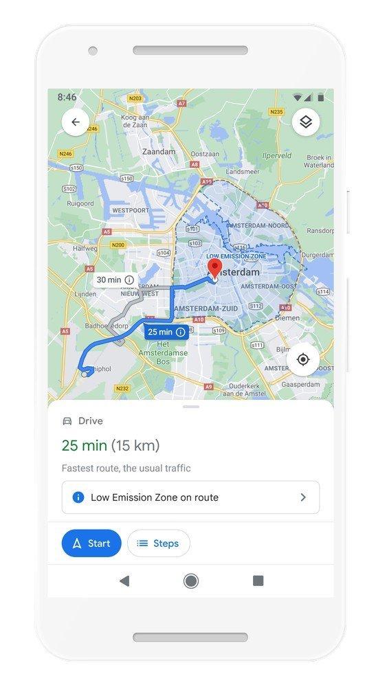 Google Maps Low Emission Zone Alerts